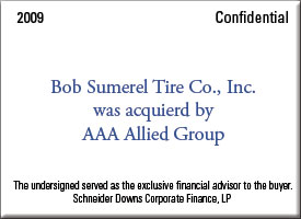 Bob Sumerel Tire Co., Inc. was acquired by AAA Allied Group