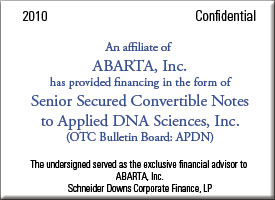 An affiliate of ABARTA, Inc. has provided financing in the form of Senior Secured Convertible Notes to Applied DNA Sciences, Inc.