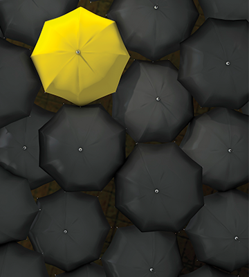 Yellow Umbrella Surrounded by All Black Umbrellas