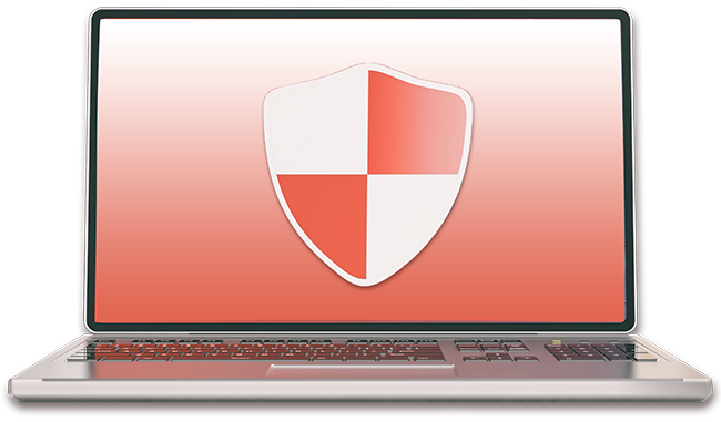 Laptop with red shield