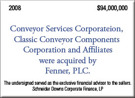 Conveyor Services Corporate was acquired by Fenner PLC for $94,000,000