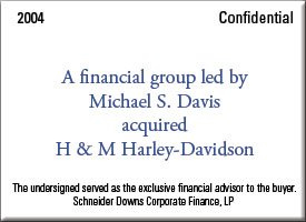 A financial group led by Michael S. Davis acquired H & M Harley-0avidson.