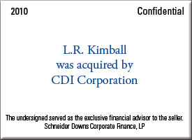 L.R. Kimball was acquired by CDI Corporation