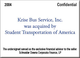 Krise Bus Service was acquired by Student Transportation of America