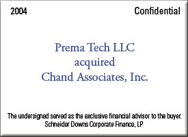 PremaTech LLC acquired Chand Associates, Inc.