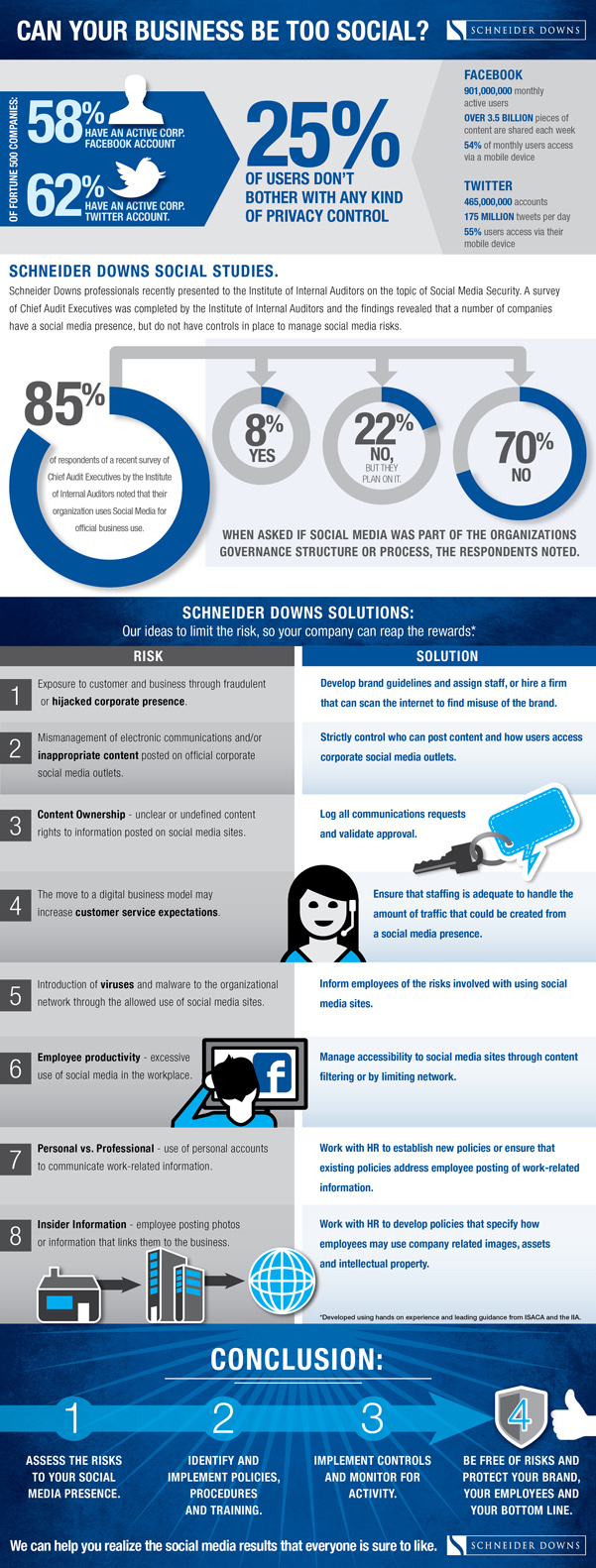 Infographic, Can you business be too social, Schneider Downs