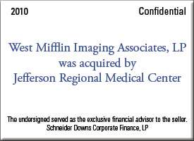 West Mifflin Imaging Associates, LP was acquired by Jefferson Regional Medical Center