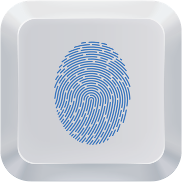 keyboard key with blue fingerprint